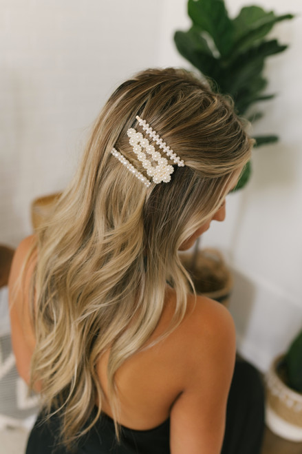 Pearl Hair Clip Set - Ivory/Gold