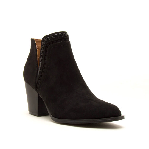 Faux Suede Whipstich Booties - Black  - FINAL SALE