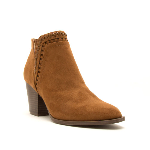 Faux Suede Whipstich Booties - Maple - FINAL SALE