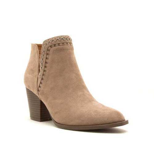 Faux Suede Whipstich Booties - Taupe - FINAL SALE