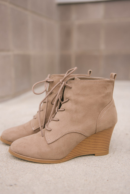 Lace Up Wedges Booties - Taupe