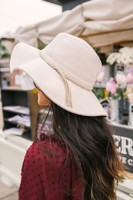 Faux Suede Braid Tassel Hat - Ivory