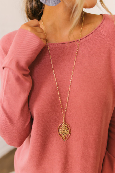 Textured Leaf Necklace - Gold