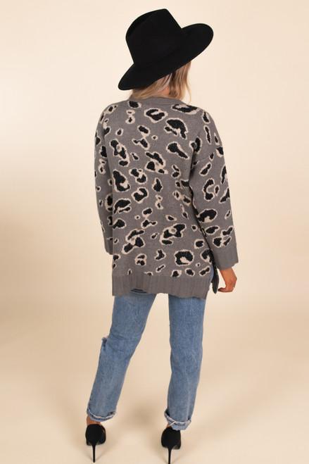 Button Down Leopard Cardigan - Grey