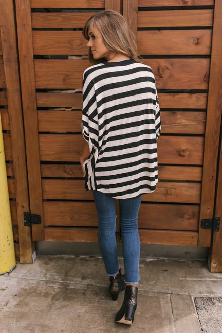 Cuffed Sleeve Striped Knit Top - Black/Ivory - FINAL SALE