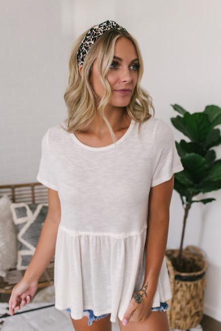 Short Sleeve Slub Knit Babydoll Top - Ivory  - FINAL SALE