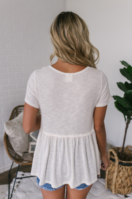 Short Sleeve Slub Knit Babydoll Top - Ivory