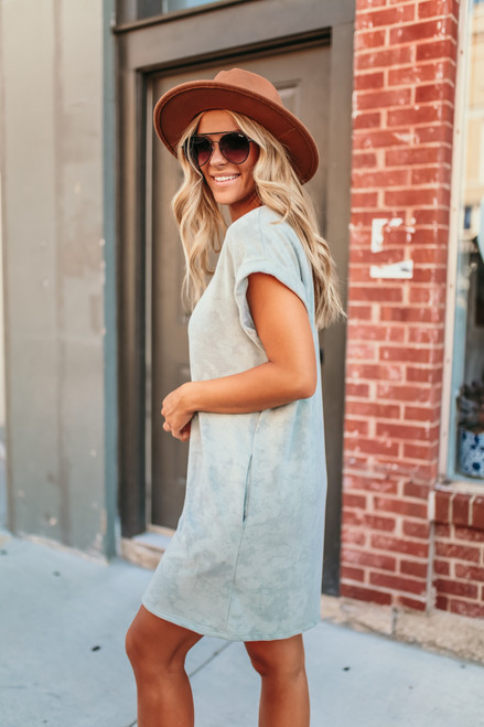 French Terry Garment Dyed T-Shirt Dress - Light Sage
