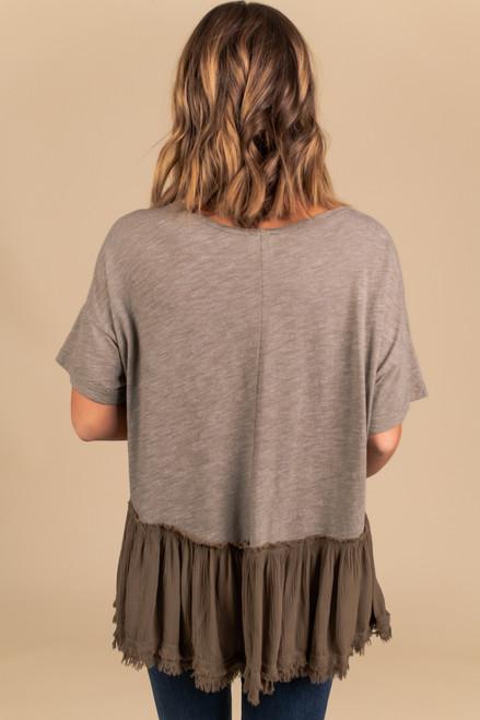 Short Sleeve Frayed Peplum Top - Olive