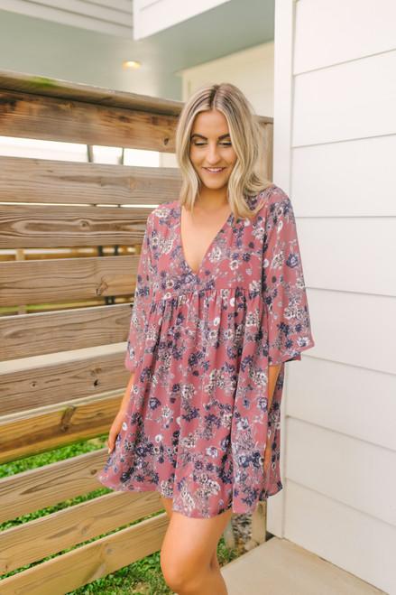 V-Neck Floral Babydoll Tunic Dress - Mauve Multi