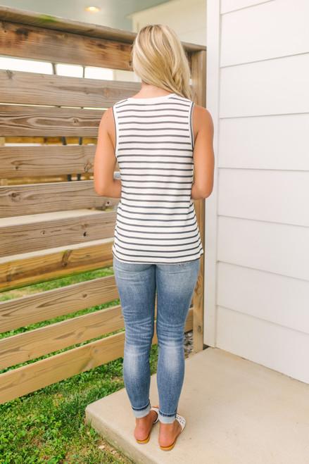 V-Neck Striped Pocket Slub Knit Tank - White/Black