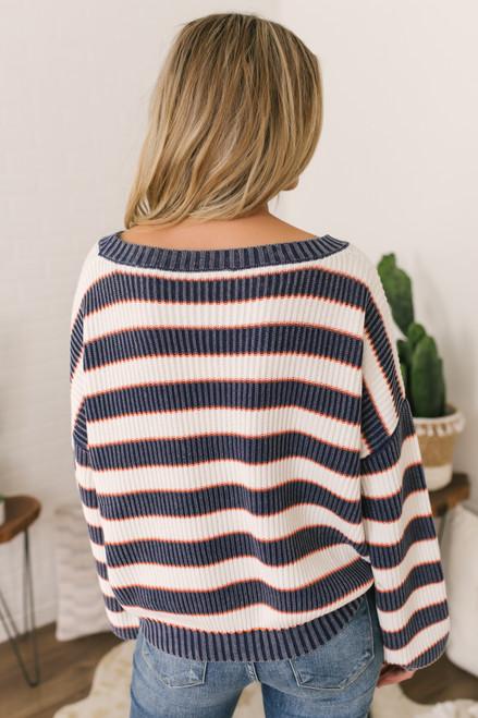 Stonewashed Striped Sweater - Navy/Orange/White - FINAL SALE