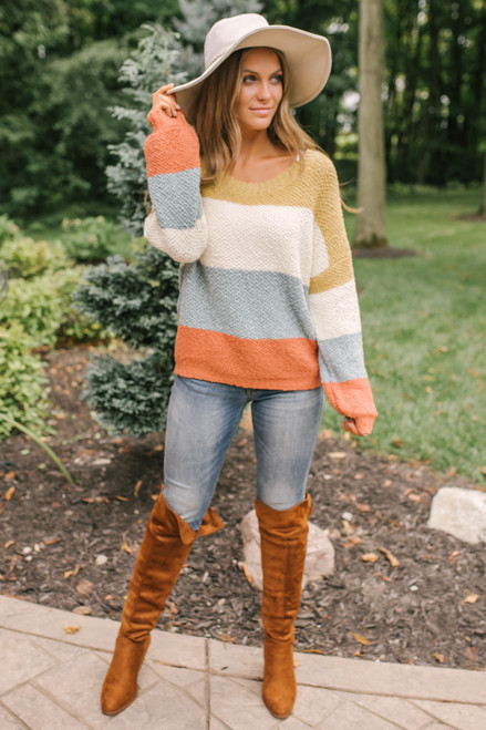 Sunset Cove Colorblock Sweater - Mustard/Ivory/Blue/Rust
