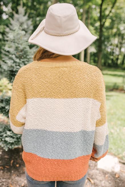 Sunset Cove Colorblock Sweater - Mustard/Ivory/Blue/Rust  - FINAL SALE