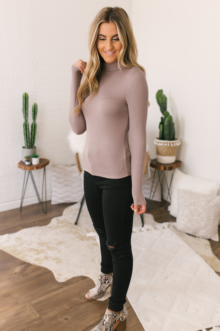 Crisp Air Mock Neck Top - Mocha - FINAL SALE
