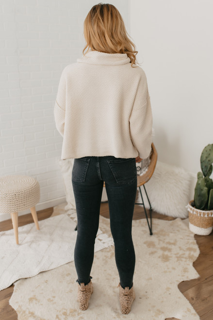 Cowl Neck Textured Sweater - Clay - FINAL SALE