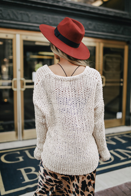 V-Neck Open Knit Sweater - Natural