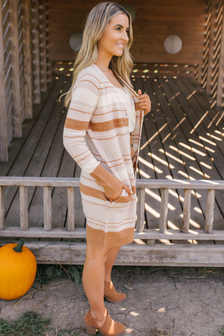 Button Down Striped Cardigan - Camel/Blush/Ivory