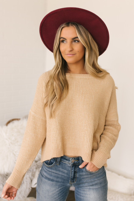 Wide Neck Ribbed Sweater - Gold