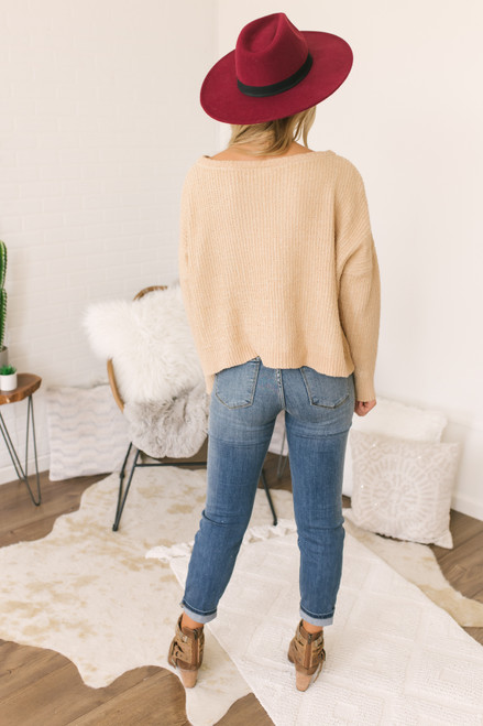 Wide Neck Ribbed Sweater - Gold - FINAL SALE