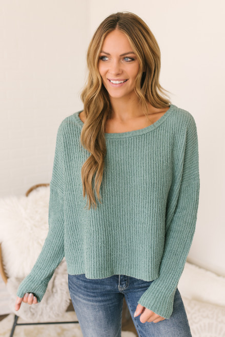 Wide Neck Ribbed Sweater - Sage Moss