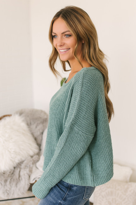 Wide Neck Ribbed Sweater - Sage Moss -  FINAL SALE