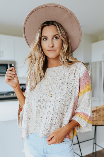 Wide Sleeve Natural Colorblock Sweater