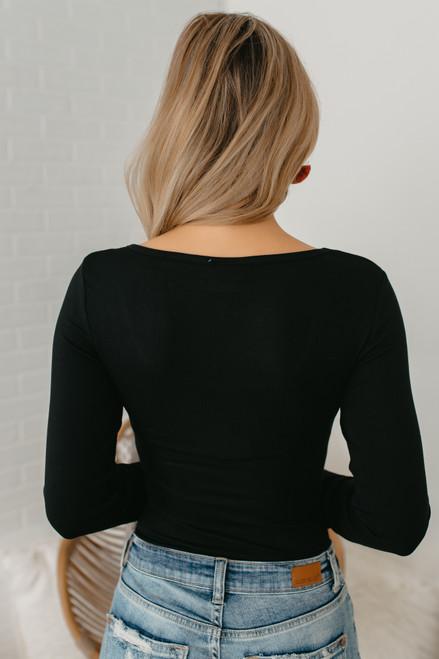Long Sleeve Scoop Neck Bodysuit - Black