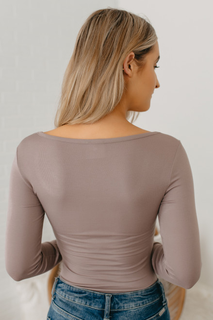 Long Sleeve Scoop Neck Bodysuit - Mocha