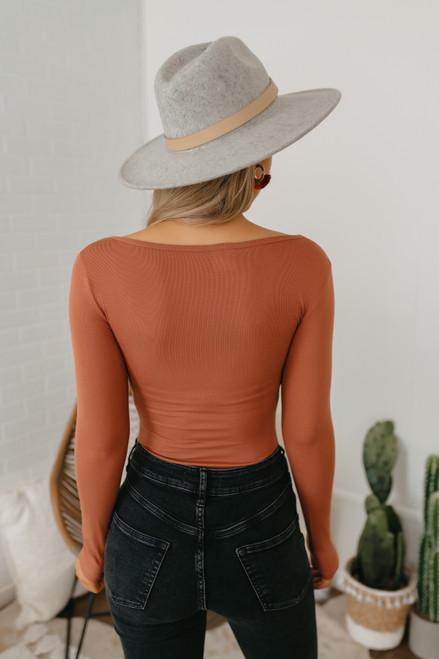 Long Sleeve Scoop Neck Bodysuit - Rust