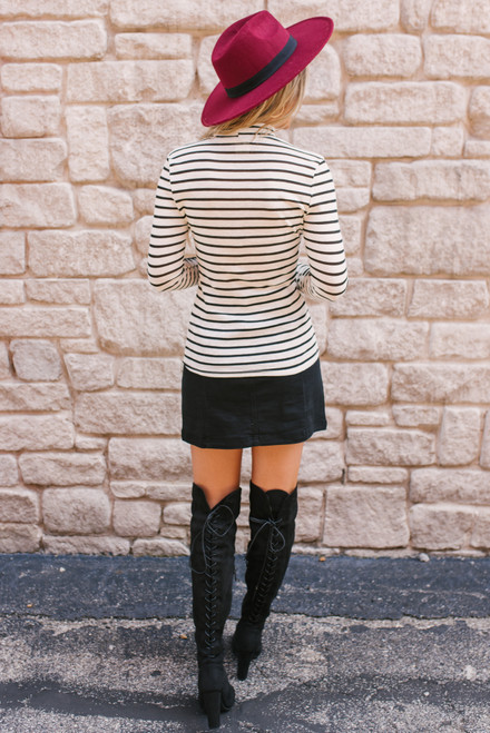 Mock Neck Striped Top - White/Black  - FINAL SALE