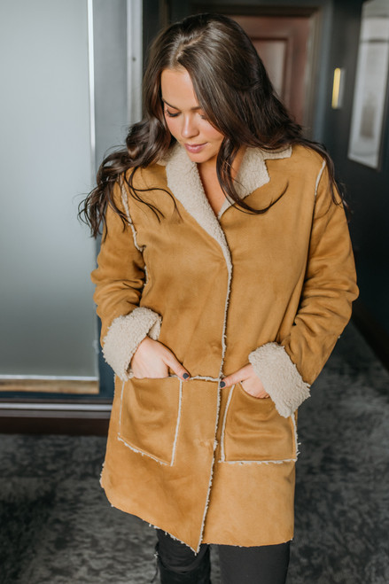 Faux Suede Shearling Coat - Camel