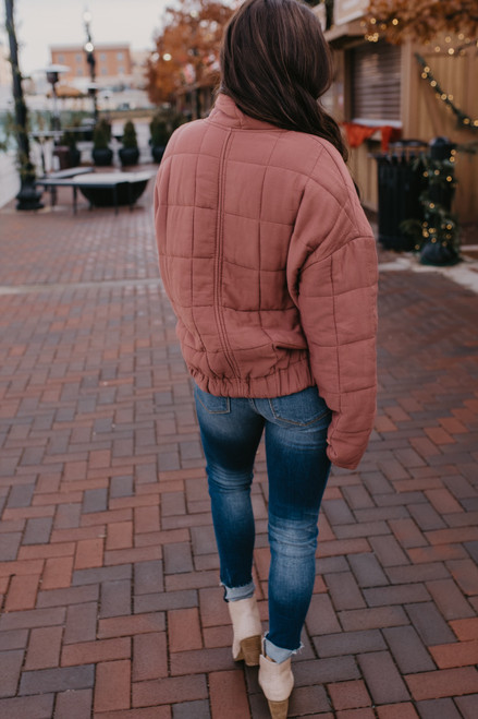 Quilted Puffer Jacket - Mauve