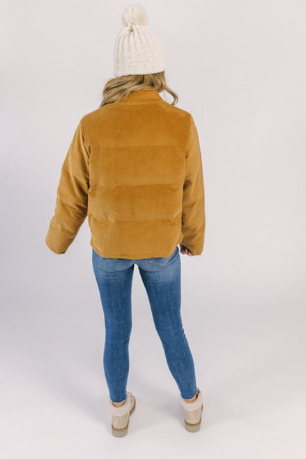 Corduroy Puffer Jacket - Camel
