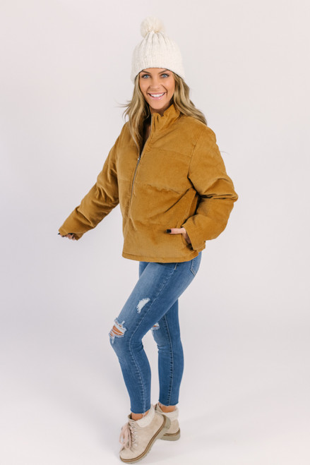 Corduroy Puffer Jacket - Camel - FINAL SALE