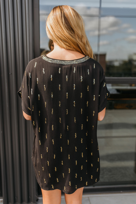 V-Neck Sequin Shift Dress - Black/Gold