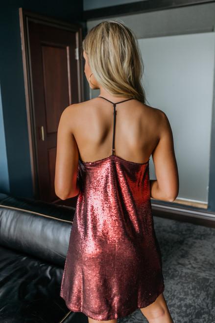 T-Back Draped Sequin Dress - Burgundy T-Back Draped Sequin Dress - Burgundy