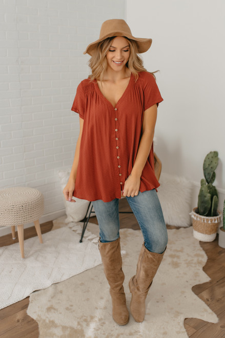 Button Down Dotted Flare Tunic - Sienna - FINAL SALE