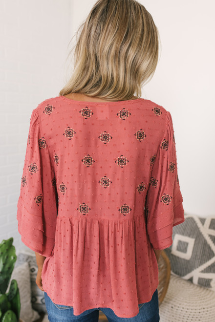 V-Neck Embroidered Dotted Babydoll Top - Coral Brick