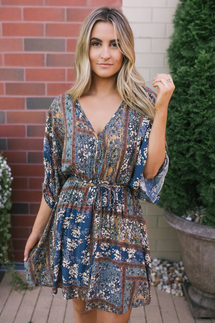 V-Neck Mixed Print Dress - Olive Multi  - FINAL SALE