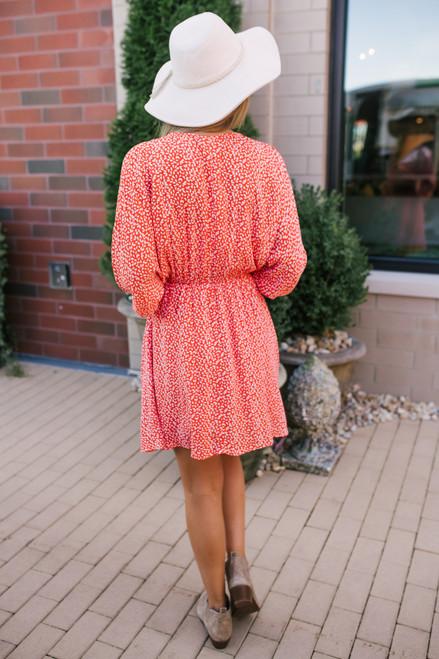 V-Neck Printed Dress - Red/White