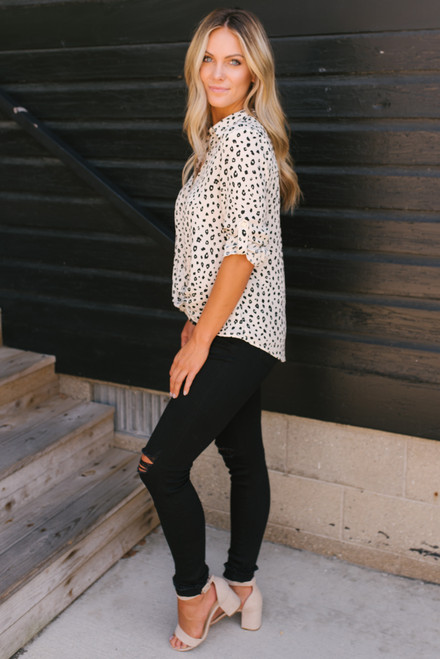 Button Down Twisted Hem Leopard Blouse - Ivory/Black  - FINAL SALE