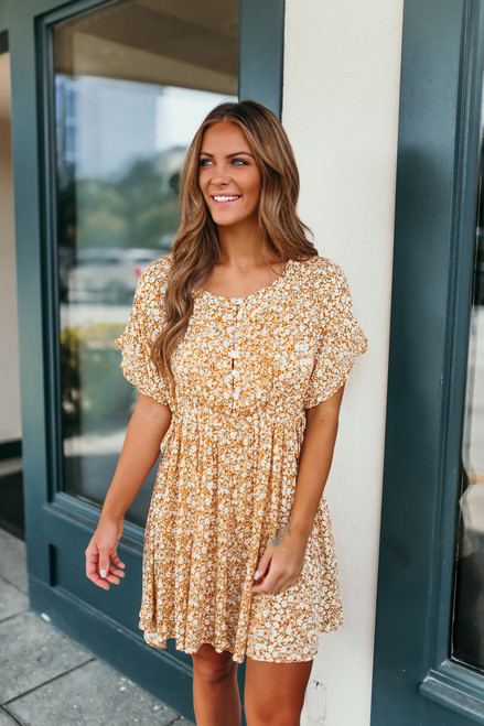 Button Down Pleated Floral Dress - Mustard/White - FINAL SALE