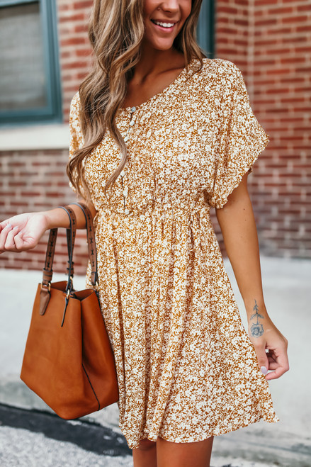 Button Down Pleated Floral Dress - Mustard/White
