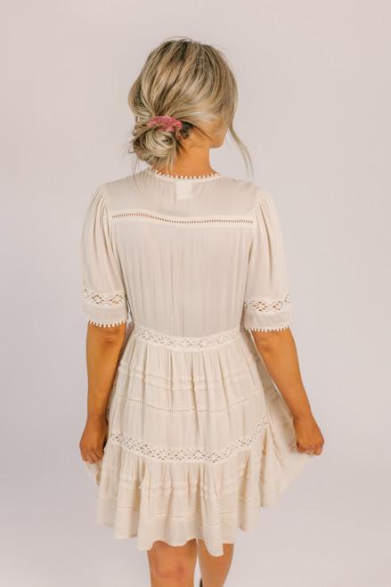 V-Neck Crochet Tunic Dress - Ivory