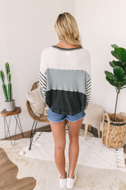 Contrast Stripe Colorblock Waffle Top - Ivory/Black/Sage  - FINAL SALE