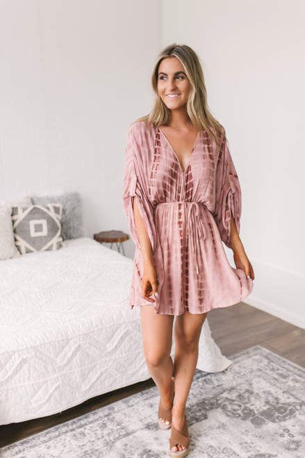 V-Neck Tie Waist Kimono Tie Dye Dress - Mauve  - FINAL SALE