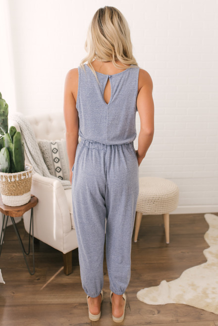 French Terry Drawstring Jumpsuit - Heather Blue