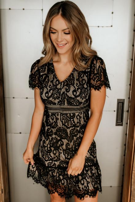 V-Neck Short Sleeve Lace Dress - Black
