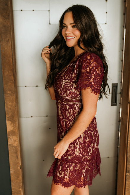 V-Neck Short Sleeve Lace Dress - Burgundy